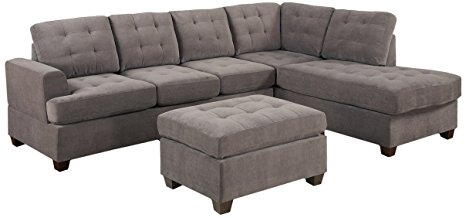 3pc Modern Reversible Grey Charcoal Sectional Sofa Couch with Chaise and Ottoman