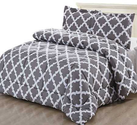 Printed Comforter Set (Grey, Queen) with 2 Pillow Shams - Luxurious Soft Brushed Microfiber