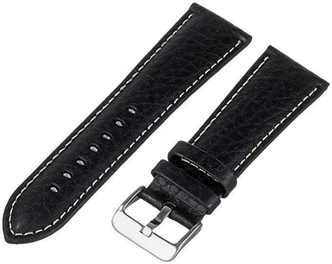 3. Hadley-Roma Men's 22-mm Black Genuine Leather Watch Strap