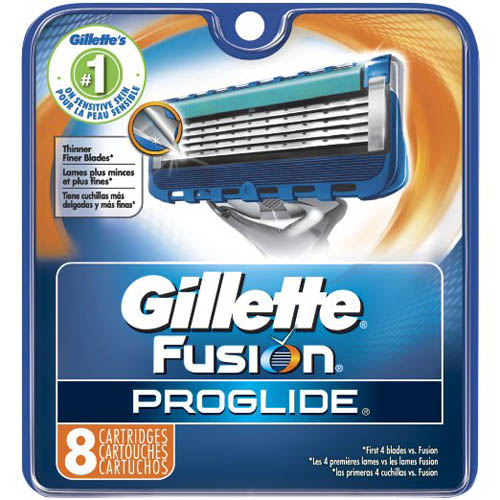 2. Gillette Fusion ProGlide Manual Men's Razor Blade Refills, 8 Count