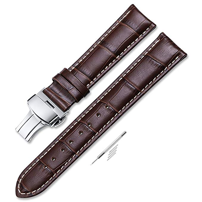 10. Calf Leather Stitched Replacement Watch Band Push Button