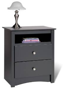 3. Black Sonoma Tall 2 Drawer Nightstand