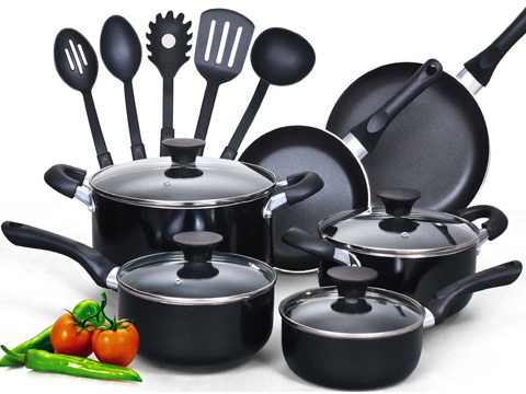 9. COOK N HOME 15 PIECE NONSTICK SOFT HANDLE