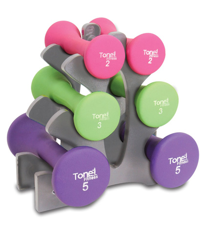 4. Tone Fitness 20-Pound Hourglass Shaped Dumbbell Set