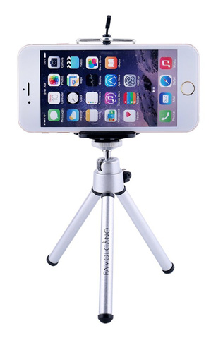 9. FAVOLCANO Mini 360 Rotatable Stand Adjustable Aluminum Tripod Mount with Holder for Cellphone