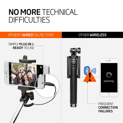 14. Selfie Stick, Spigen® [Battery Free] Wired Selfie Stick