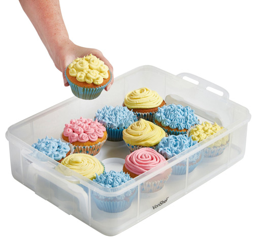 8. VonShef Snap and Stack Cupcake Storage Carrier 2 Tier