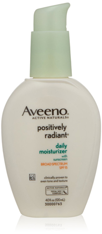 1. Aveeno Positively Radiant Skin Daily Moisturizer SPF 15, 4 Ounce