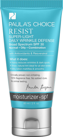 4. Paula's Choice Resist Super-Light Daily Wrinkle Defense SPF 30 Tinted Matte Moisturizer