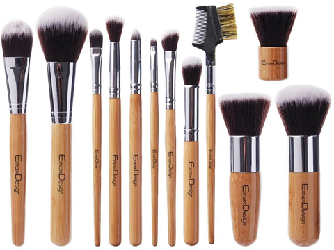 7. Emax 12 Pc. Makeup Brush Set With Bamboo Handle