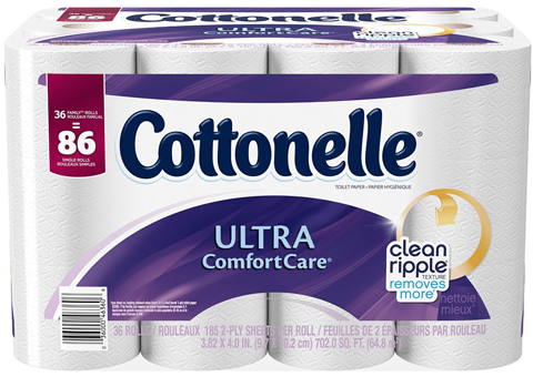 12. Cottonelle Bath Tissue, 36 Family Rolls