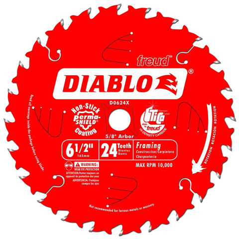 8. Freud D0624X Diablo 24-Tooth ATB Framing Saw Blade with 5/8-Inch Arbor