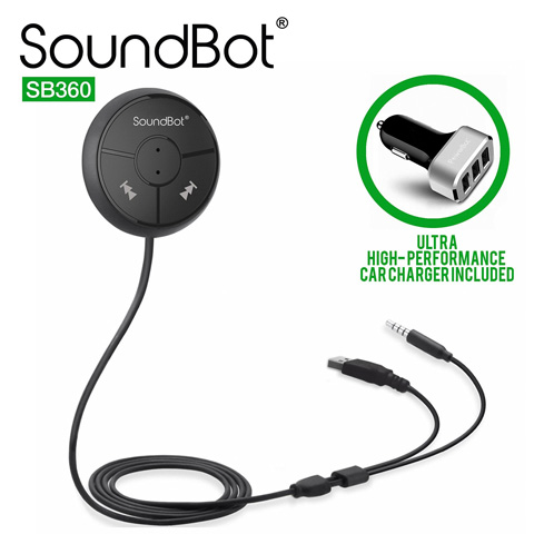 9. SoundBot SB360 Bluetooth 4.0 Car Kit Hands-Free Wireless Talking & Music Streaming Dongle