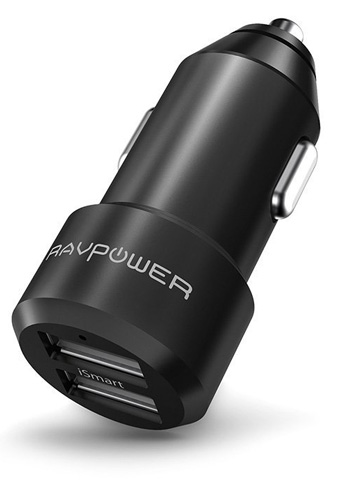 5. The RAVPower 24W Alloy Dual USB Car Charger