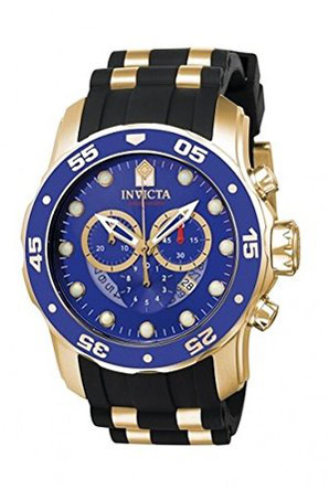 7. Invicta Men's Pro Diver Black Polyurethane Watch