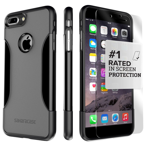 2. iPhone 7 Plus Case, (Black Gray) SaharaCase Protective Kit Bundle