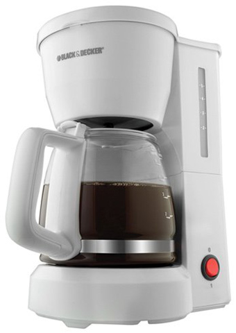 3. Black & Decker DCM600W 5-Cup Drip Coffeemaker with Glass Carafe, White