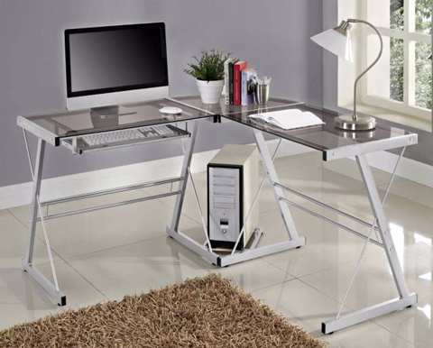 08. Walker Edison 3-Piece Contemporary Desk Glass and Steel Desk