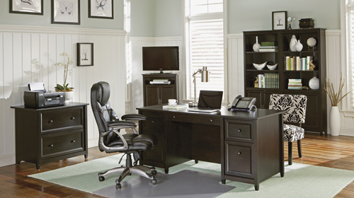 03. Sauder Edge Water Executive Desk, Estate Black Finish
