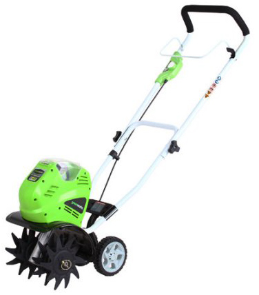 03. GreenWorks 27062A 40V 10 Cordless Cultivator Battery and Charger Sold Separately