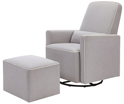 04. DaVinci Olive Upholstered Swivel Glider with Bonus Ottoman
