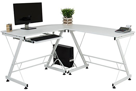 02. Beautiful Wood L-Shape Corner Computer Desk PC Laptop Table Workstation