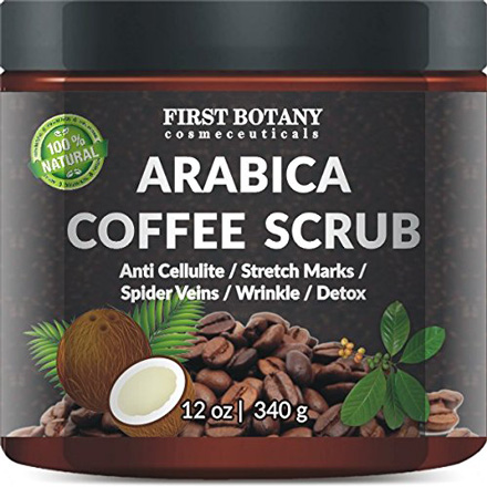 100% Natural Arabica Coffee Scrub 12 oz. with Organic Coffee, Coconut and Shea Butter