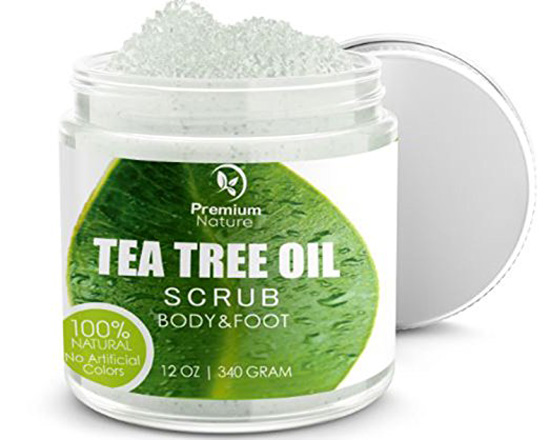 Antifungal Tea Tree Body & Foot Scrub - 12 oz 100% Natural Antibacterial Exfoliator