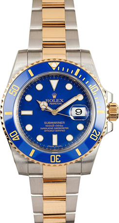 Rolex Submariner Stainless Steel Yellow Gold Watch Blue Ceramic