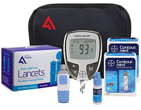Active 1st Bayer Contour NEXT EZ Diabetic Testing Starter Kit