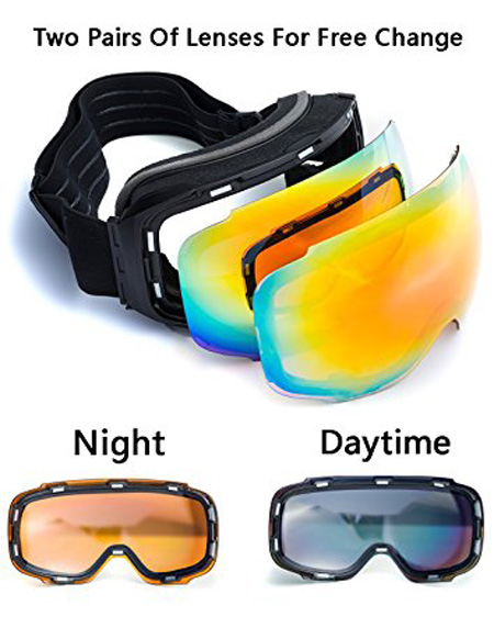 BO Anti-Fog Anti-UV Windproof Unisex Ski Goggles