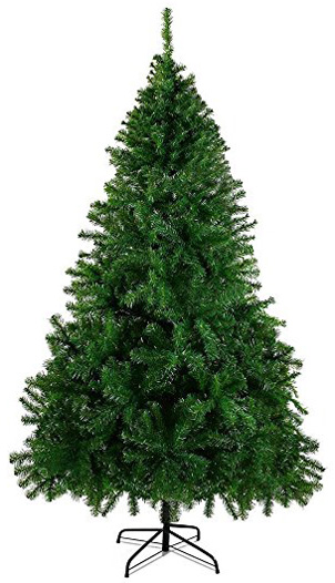 HAPPYPONY 7.5'Premium Christmas Pin Tree, Durable, Easy-Assembly Artificial Evergreen Christmas Tree with Solid Metal Legs