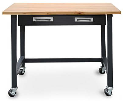 Seville Classics UltraGraphite Wood Top Workbench on Wheels with Organizer Drawer, 48