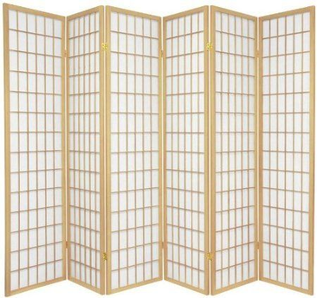 Legacy Decor 4 Panel Natural Room Divider with Shoji Screen