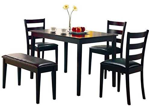 Coaster 5 Pc Dining Table Chairs and Bench Set