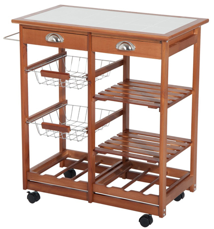 Hom Com Rolling Tile Top Wooden Kitchen Trolley Microwave Cart.