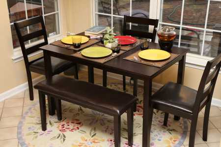 Home Life 5 PC Dinning Dinnette Table Chairs and a Bench