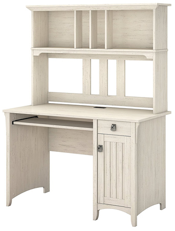 Salinas Computer Desk with Hutch in Antique White.