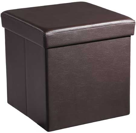 SONGMICS 15 x 15 x 15 Storage Ottoman Cube / Footrest Stool / Coffee Table / Puppy Step, Holds Up to 660lbs, Faux Leather, Brown ULSF10B