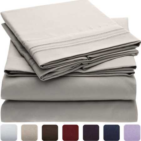 Mellanni Bed Sheet Set - Brushed Microfiber 1800 Bedding - Wrinkle, Fade, Stain Resistant - Hypoallergenic