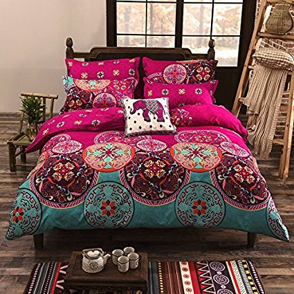 Vaulia Lightweight Microfiber Duvet Cover Set, Bohemia Exotic Patterns Design, Bright Pink