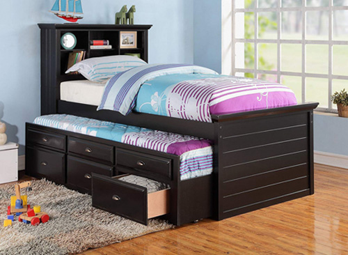 Black captain bookcase bed with storage drawers