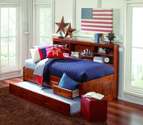 Discovery world merlot bookcase twin bed