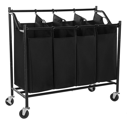SONGMICS Heavy-Duty 4-Bag Rolling Laundry Sorter Storage Cart