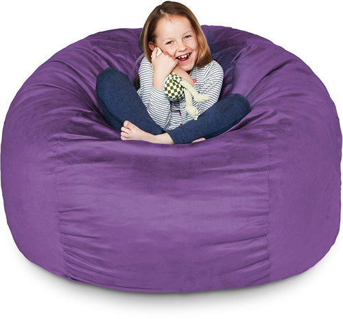 Lumaland Luxury 3-Foot Bean Bag Chair with Microsuede Sofa and Giant Lounger