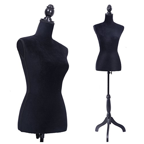 LAZYMOON Black Female Mannequin Torso Dress Form Clothing Display