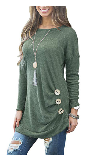 Muhadrs Women's Long Sleeve Casual Round Neck Loose Tunic Top Blouse T-Shirt