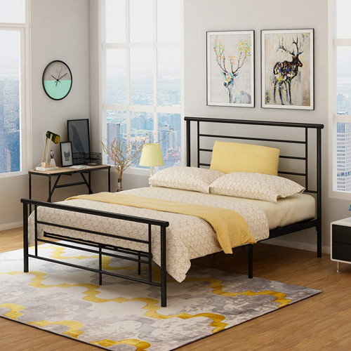 Metal Bed Frame Platform with Headboard and Footboard Board Steel Slat Support