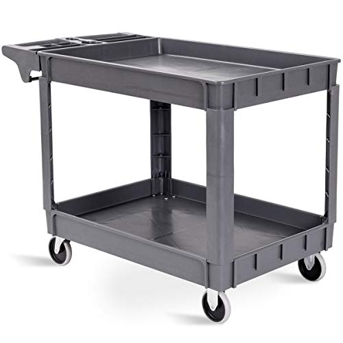 Goplus Plastic Service Cart Utility Storage Cart for All Purpose 550 LBS Capacity