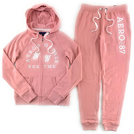 Aeropostale Women's Hoodie and Sweat Pants Set Light Pink